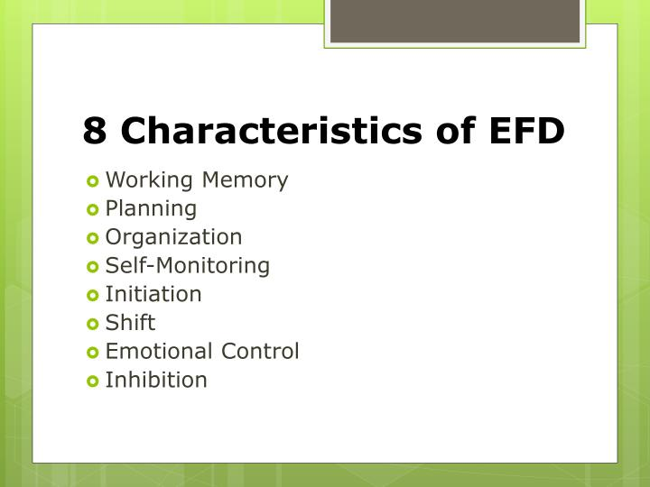 8 Characteristics of EFD