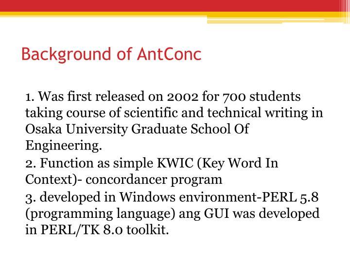 Background of antconc