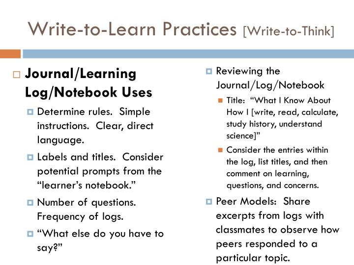 Write-to-Learn Practices