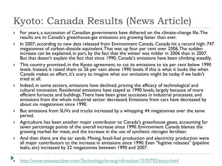 Kyoto: Canada Results (News Article)
