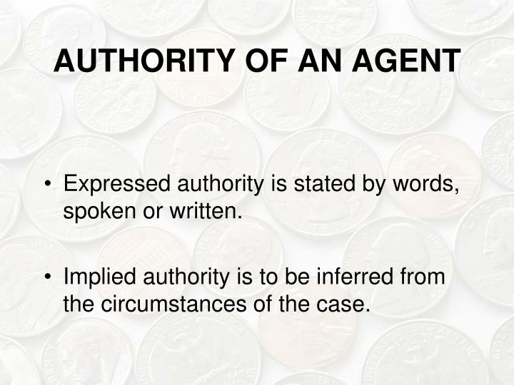 AUTHORITY OF AN AGENT
