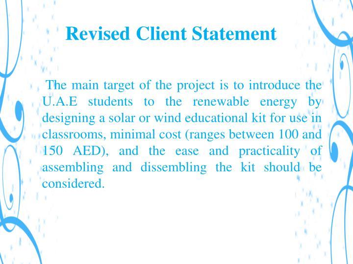 Revised Client Statement