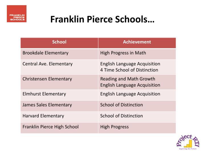 Franklin Pierce Schools…