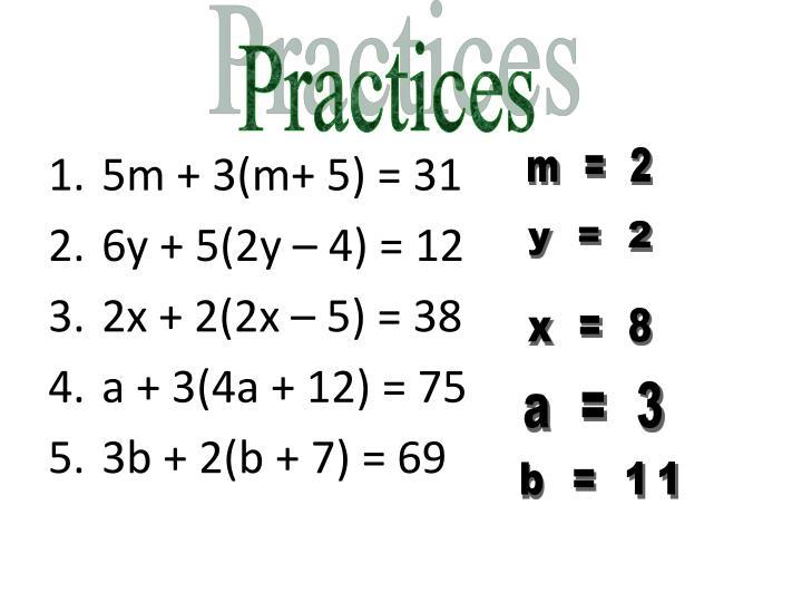 5m + 3(m+ 5) = 31