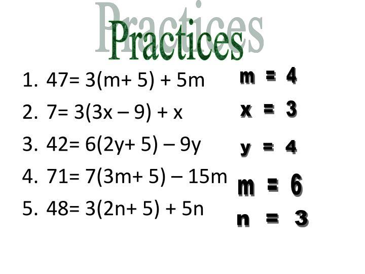 47= 3(m+ 5) + 5m