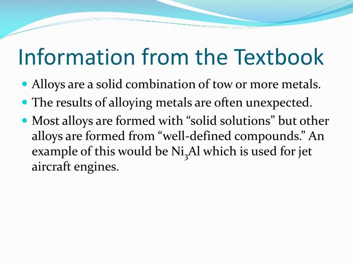 Information from the textbook