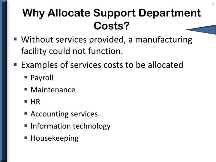 Why allocate support department costs