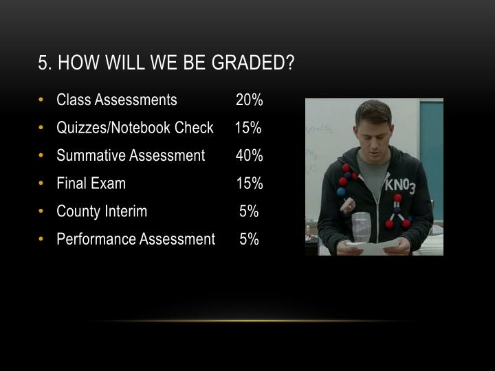 5. How will we be graded?