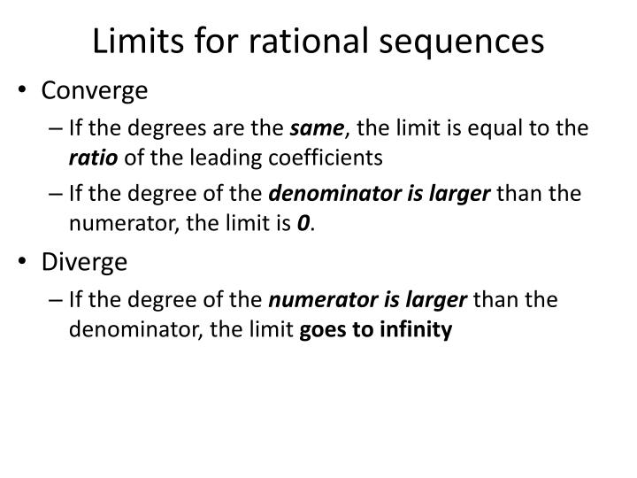 Limits for rational sequences