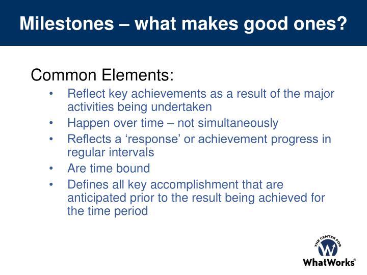 Milestones – what makes good ones?