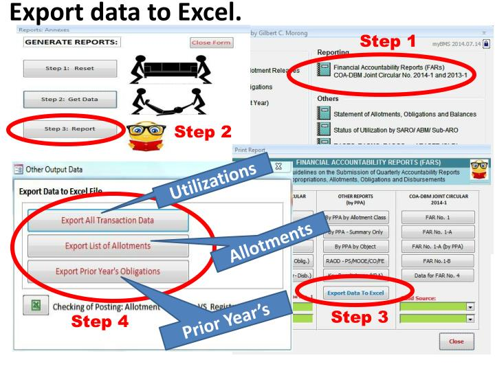 Export data to Excel.
