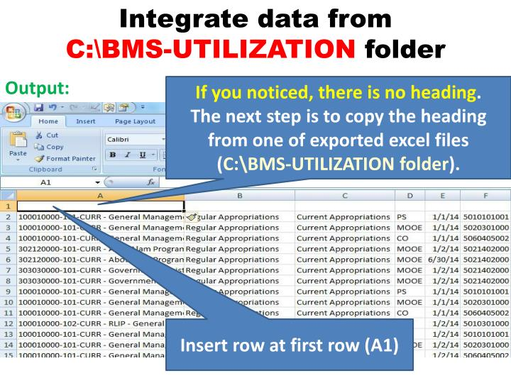 Integrate data from