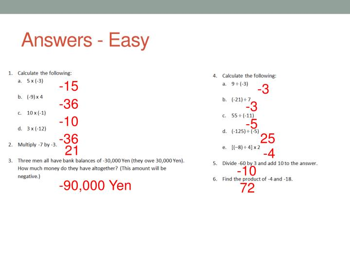 Answers - Easy