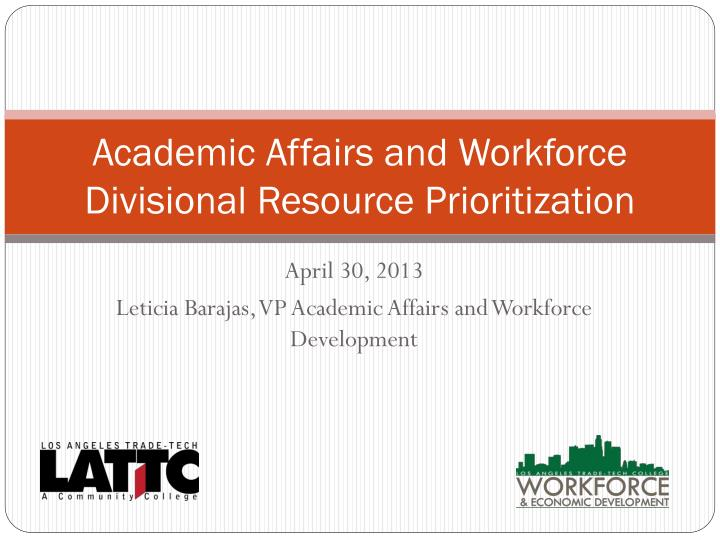 academic affairs and workforce divisional resource prioritization n.