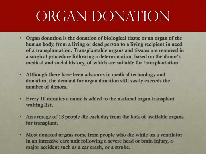 organ donation 2 essay Organ donation has grown immensely since it began many years ago the process of organ donation procures enough organs to perform around 28,000 transplants a year (organdonorgov) this saves the lives of many people who are near death from organ failure with this process in place, many.