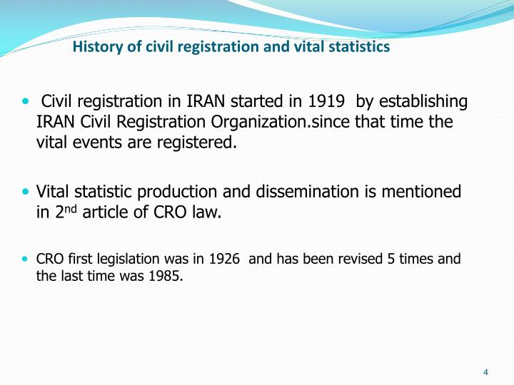 History of civil registration and vital statistics