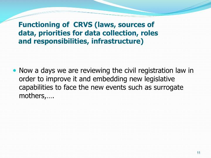 Functioning of  CRVS (laws, sources of data, priorities for data collection, roles and responsibilities, infrastructure)