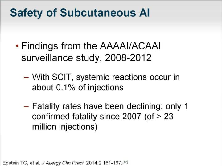 Safety of Subcutaneous AI