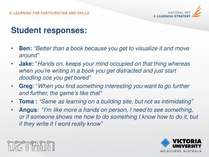 Student responses: