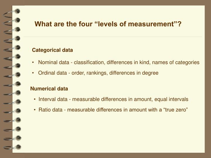 "What are the four ""levels of measurement""?"
