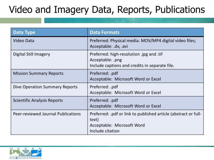 Video and Imagery Data, Reports, Publications