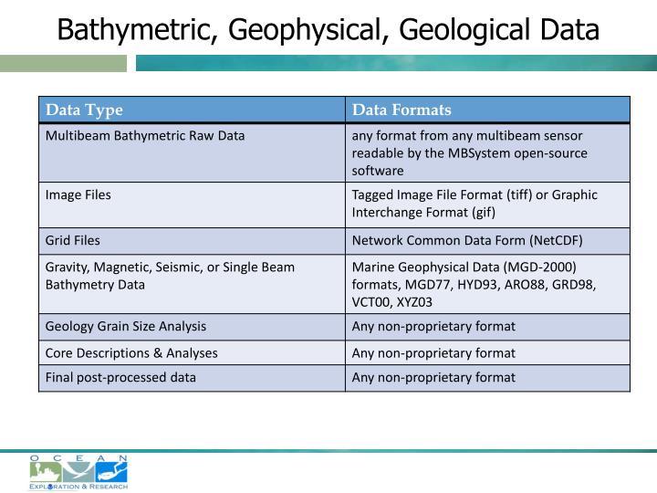 Bathymetric, Geophysical, Geological Data