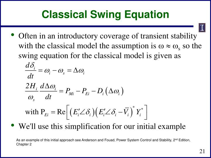 Classical Swing Equation
