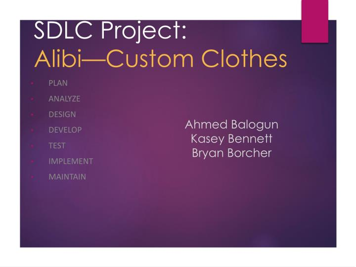 Sdlc project alibi custom clothes