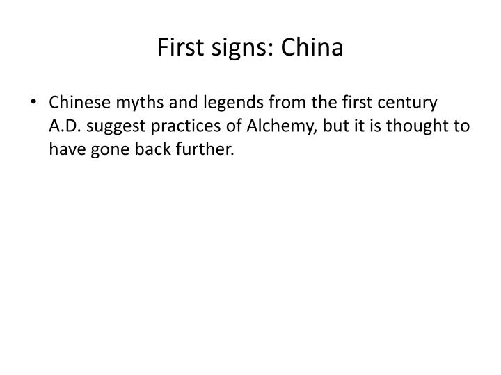 First signs china