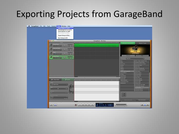 Exporting Projects from GarageBand