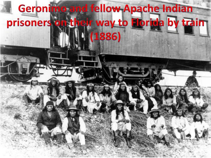 Geronimo and fellow Apache Indian prisoners on their way to Florida by train (1886)