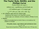 the taylor rule nairu and the phillips curve