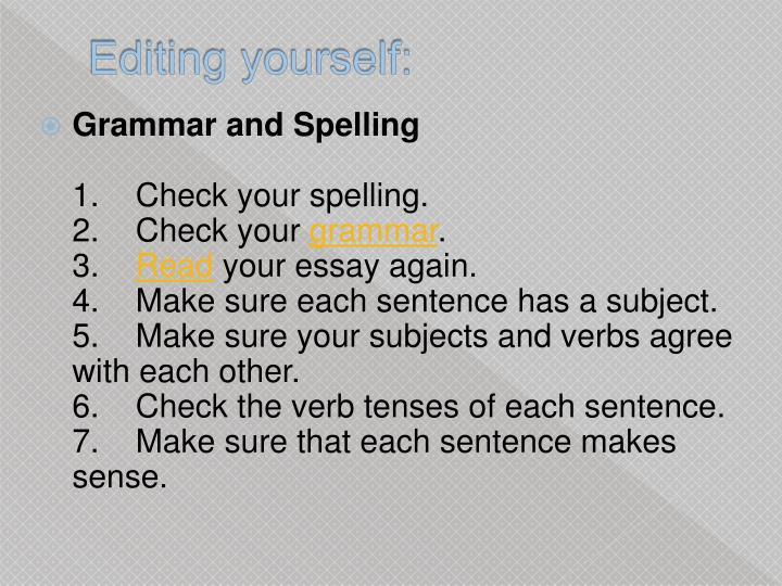 Editing yourself: