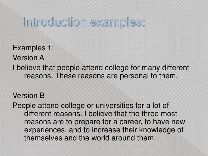 Introduction examples: