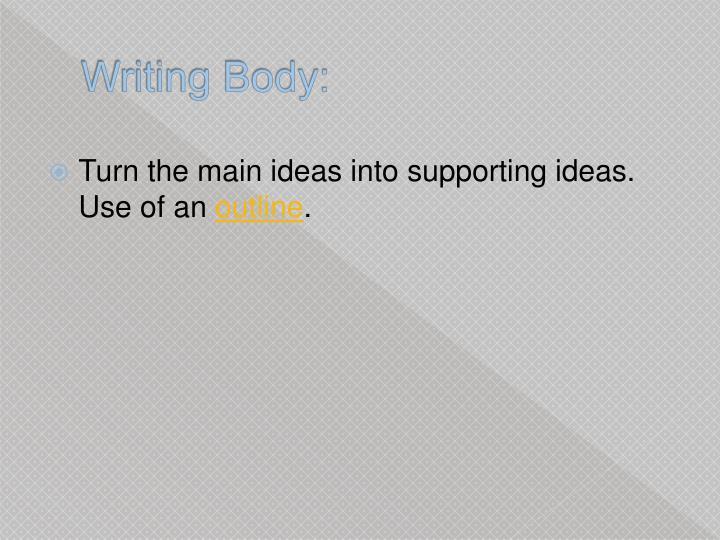 Writing Body: