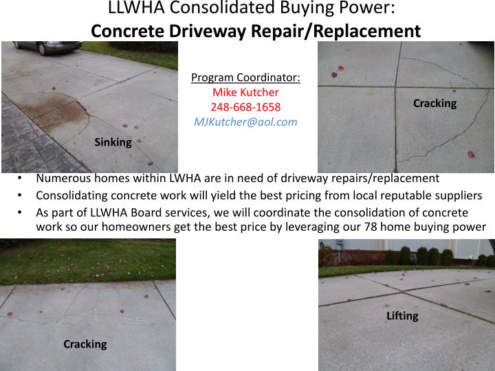 llwha consolidated buying power concrete driveway repair replacement n.