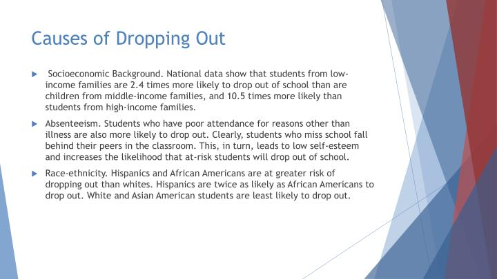 cause effect essay high school drop out Cause and effect: the high cost of high school dropouts while high school dropout percentages in the us are much lower today than they were a few decades ago, there is still a lot of room for.