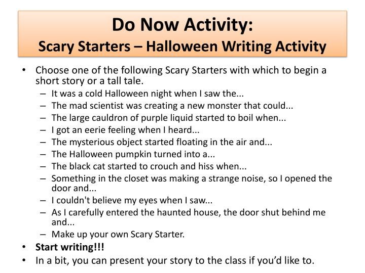 do now activity scary starters halloween writing activity n.