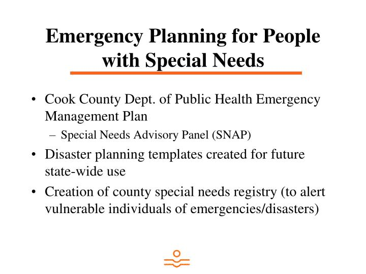 Emergency Planning for People with Special Needs
