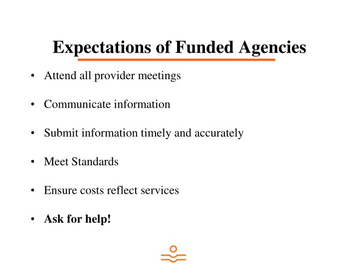 Expectations of Funded Agencies