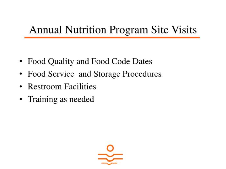 Annual Nutrition Program Site Visits