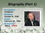 biography part 1