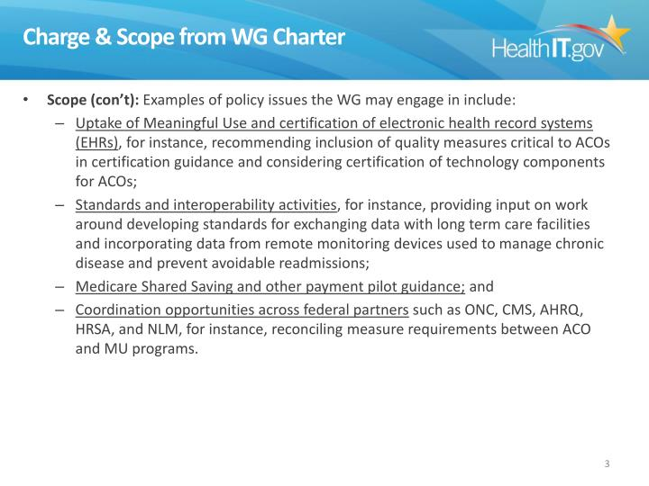 Charge & Scope from WG Charter