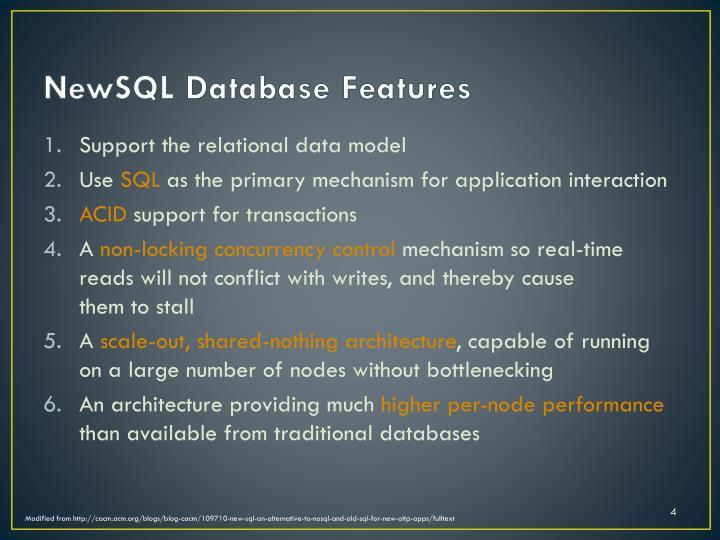 NewSQL Database Features