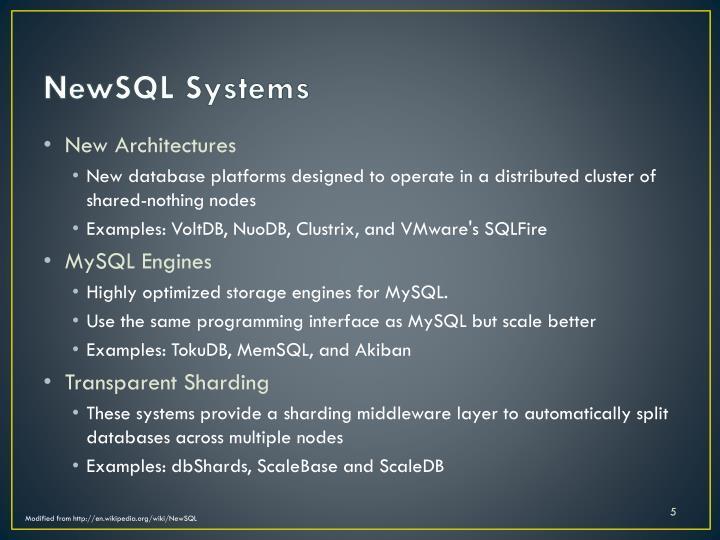 NewSQL Systems
