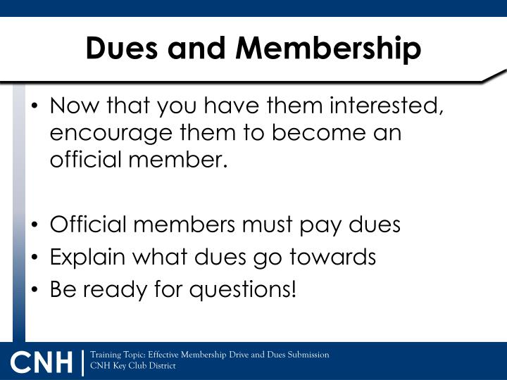 Dues and Membership