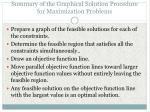 summary of the graphical solution procedure for maximization problems