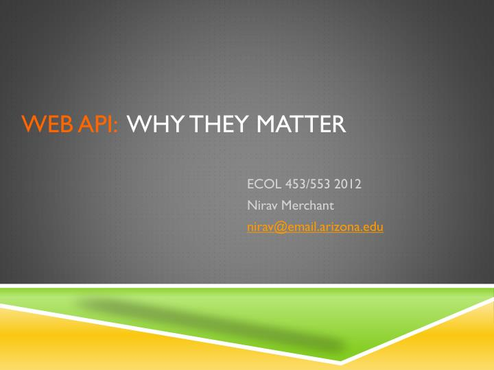 Web api why they matter