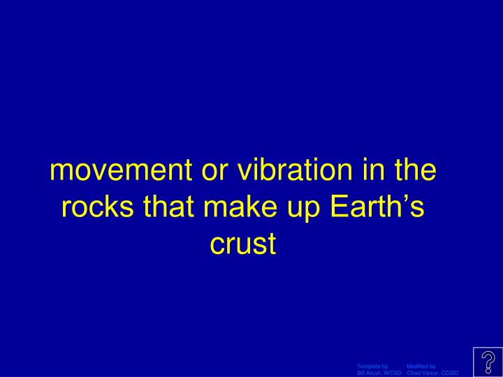 movement or vibration in the rocks that make up Earth's crust