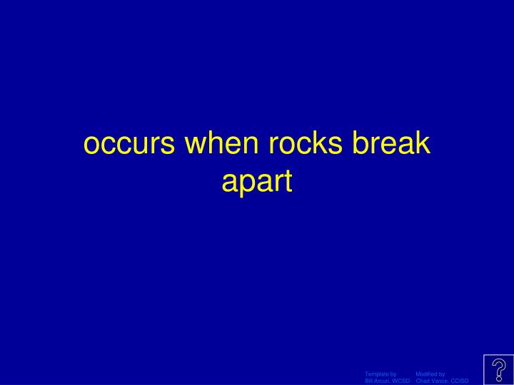 occurs when rocks break apart